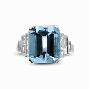 Octagonal Aquamarine & Diamond Ring - 4.50ct